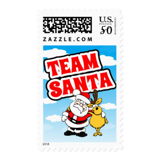 Cartoon Santa Claus Picture With Reindeer Postage