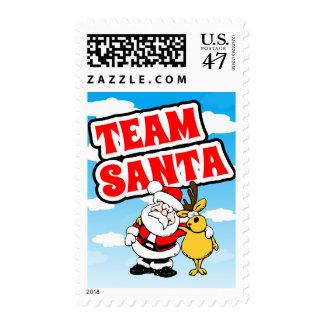 Cartoon Santa Claus Picture With Reindeer Postage Stamp