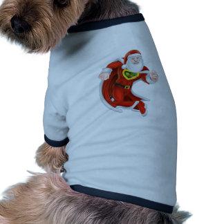 Cartoon Santa Claus Superhero Dog Tee Shirt