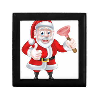Cartoon Santa Giving Thumbs Up and Holding Plunger Gift Box