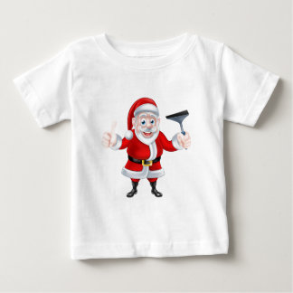 Cartoon Santa Giving Thumbs Up and Holding Squeege Baby T-Shirt