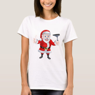 Cartoon Santa Giving Thumbs Up and Holding Squeege T-Shirt