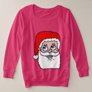 Cartoon Santa Head Plus Size Sweatshirt