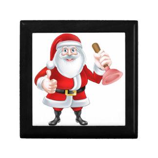 Cartoon Santa Holding a Plunger Keepsake Box