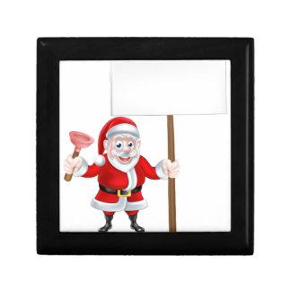 Cartoon Santa Holding Plunger and Sign Keepsake Box