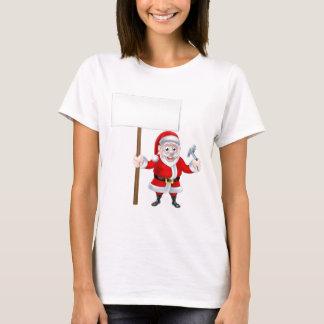 Cartoon Santa Holding Sign and Hammer T-Shirt