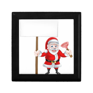 Cartoon Santa Holding Sign and Plunger Jewelry Boxes