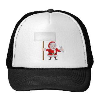 Cartoon Santa Holding Sign and Spanner Trucker Hat
