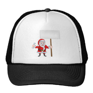 Cartoon Santa Holding Spanner and Sign Trucker Hat