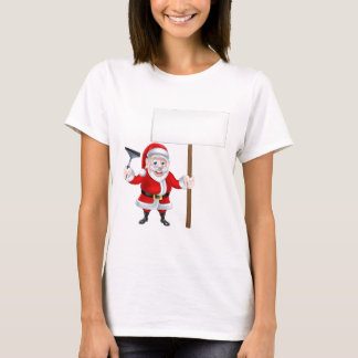 Cartoon Santa Holding Squeegee and Sign T-Shirt