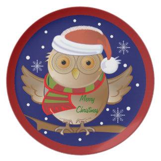 Cartoon Santa Owl Christmas plate with Text