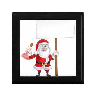 Cartoon Santa Plumber Sign Keepsake Box