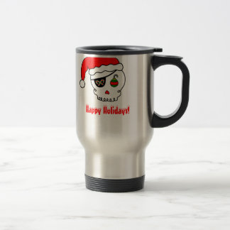 Cartoon Santa Skull Travel Mug