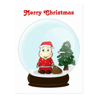 Cartoon Santa Snowglobe Postcard