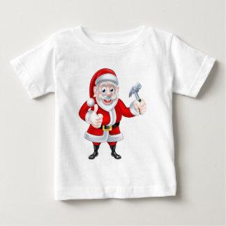 Cartoon Santa Thumbs Up and Holding Fork Baby T-Shirt