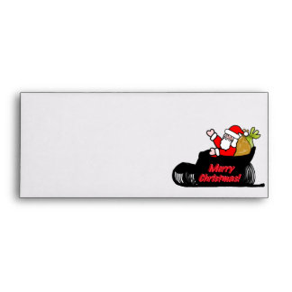 Cartoon Santa's Sleigh Ride Envelopes