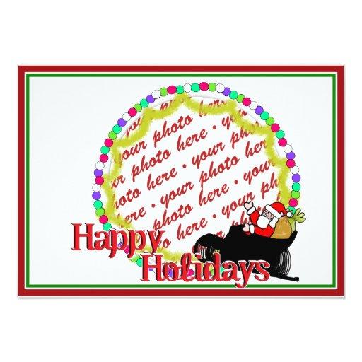 Cartoon Santa's Sleigh Ride Photo Frame 5x7 Paper Invitation Card
