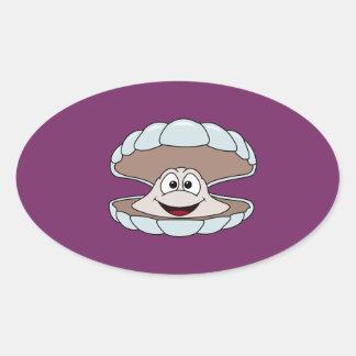 Cartoon Scallop Shellfish Clam Oval Sticker