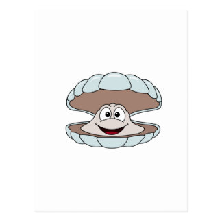 Cartoon Scallop Shellfish Clam Postcard