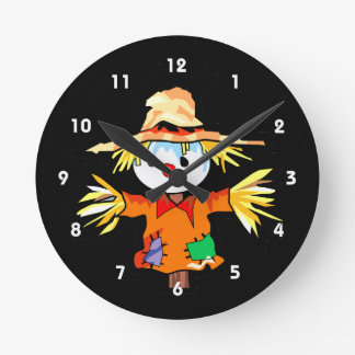 Cartoon scarecrow graphic round clock