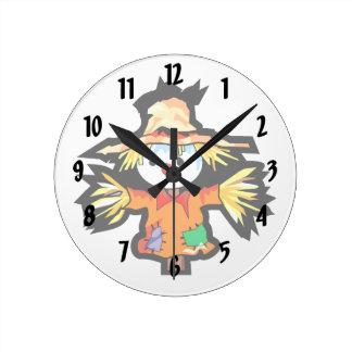 Cartoon scarecrow graphic round wallclocks