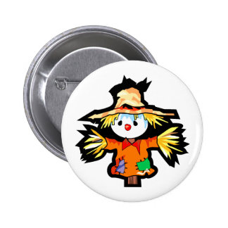 Cartoon scarecrown graphic pinback buttons