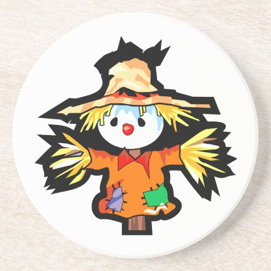Cartoon scarecrown graphic drink coaster