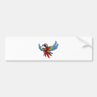 Cartoon Scarlet Macaw Bumper Sticker