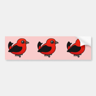 Cartoon Scarlet Tanager Bumper Sticker