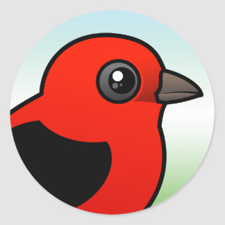 Cartoon Scarlet Tanager Classic Round Sticker