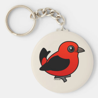 Cartoon Scarlet Tanager Keychain