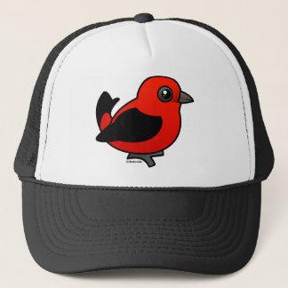 Cartoon Scarlet Tanager Trucker Hat