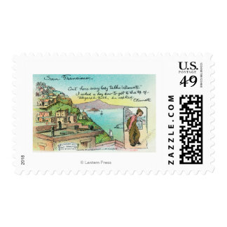 Cartoon Scene about Climate Postage Stamp