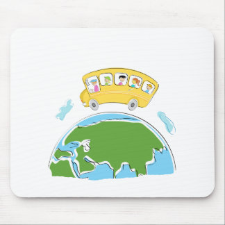cartoon school bus on earth globe png mousepads