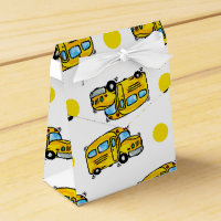 Cartoon School Bus, Yellow & White Polka Dots Favor Box