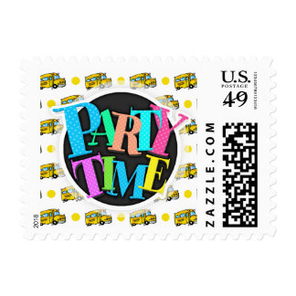 Cartoon School Bus Yellow White Polka Dots Postage