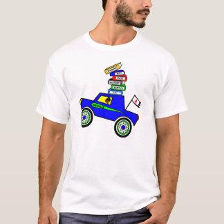Cartoon Schoolboy Genius Driving Car Books on Top