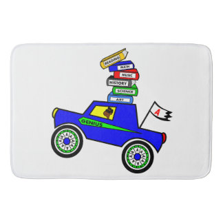 Cartoon Schoolboy Genius Driving Car Books on Top Bathroom Mat
