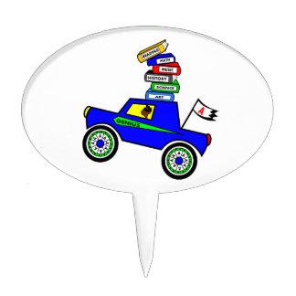 Cartoon Schoolboy Genius Driving Car Books on Top Cake Topper