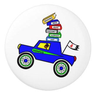 Cartoon Schoolboy Genius Driving Car Books on Top Ceramic Knob