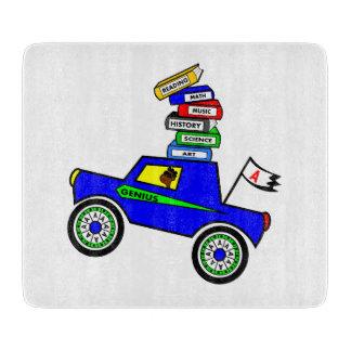 Cartoon Schoolboy Genius Driving Car Books on Top Cutting Board