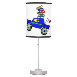 Cartoon Schoolboy Genius Driving Car Books on Top Desk Lamp