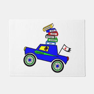 Cartoon Schoolboy Genius Driving Car Books on Top Doormat
