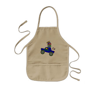 Cartoon Schoolboy Genius Driving Car Books on Top Kids' Apron