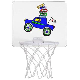 Cartoon Schoolboy Genius Driving Car Books on Top Mini Basketball Backboard