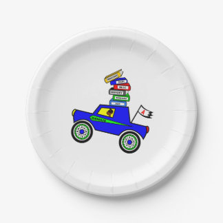 Cartoon Schoolboy Genius Driving Car Books on Top Paper Plate