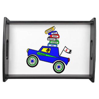 Cartoon Schoolboy Genius Driving Car Books on Top Serving Tray