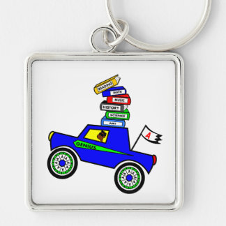 Cartoon Schoolboy Genius Driving Car Books on Top Silver-Colored Square Keychain