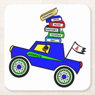 Cartoon Schoolboy Genius Driving Car Books on Top Square Paper Coaster