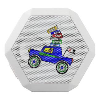 Cartoon Schoolboy Genius Driving Car Books on Top White Bluetooth Speaker
